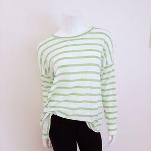 Kiara Green White Striped Sheer Long Sleeve Top